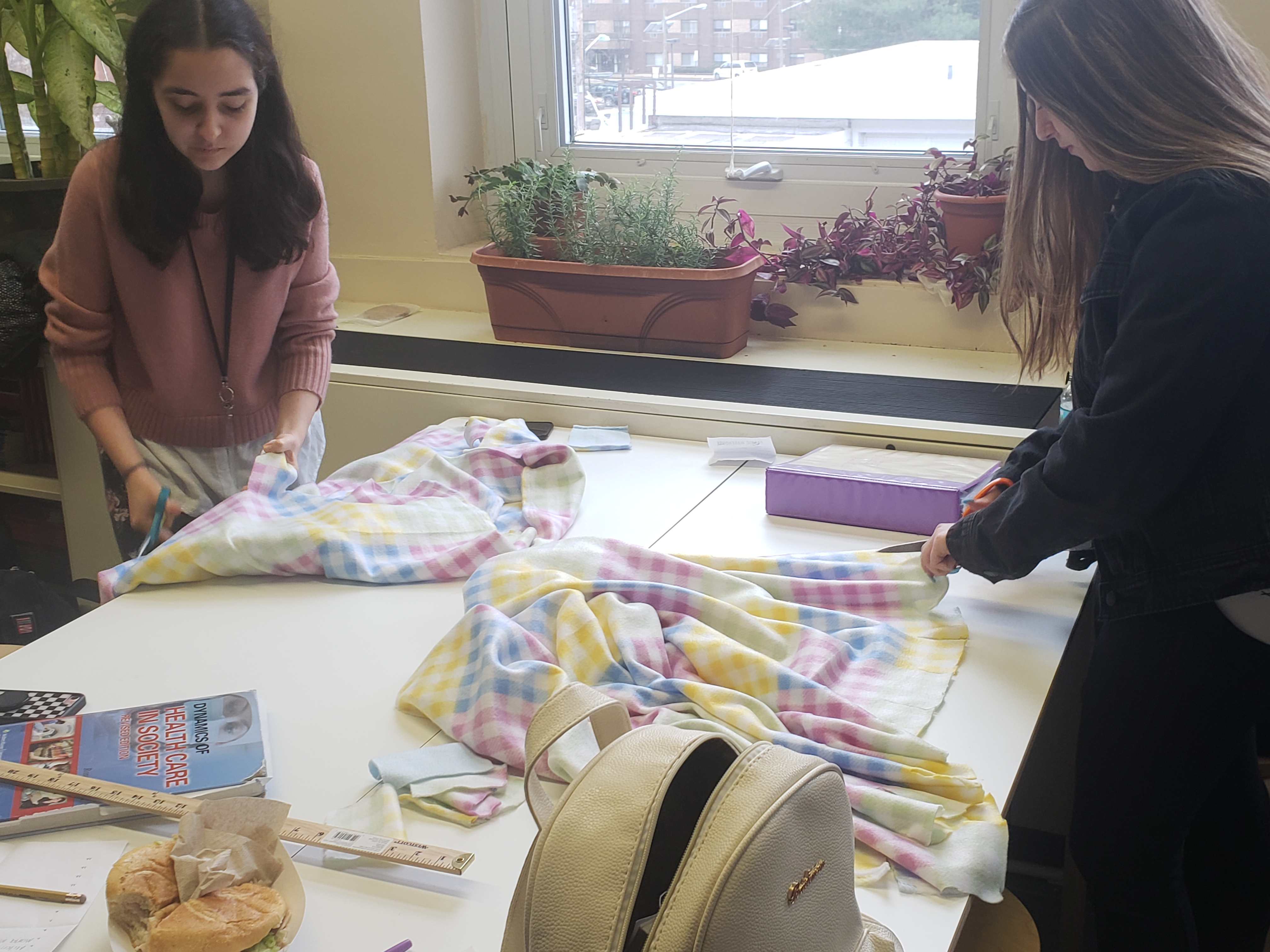 NHS students creating blankets