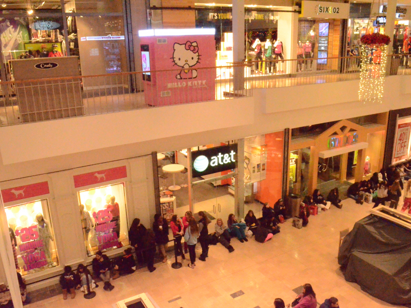 A line of shoppers forms down the hall as they wait to shop in PINK