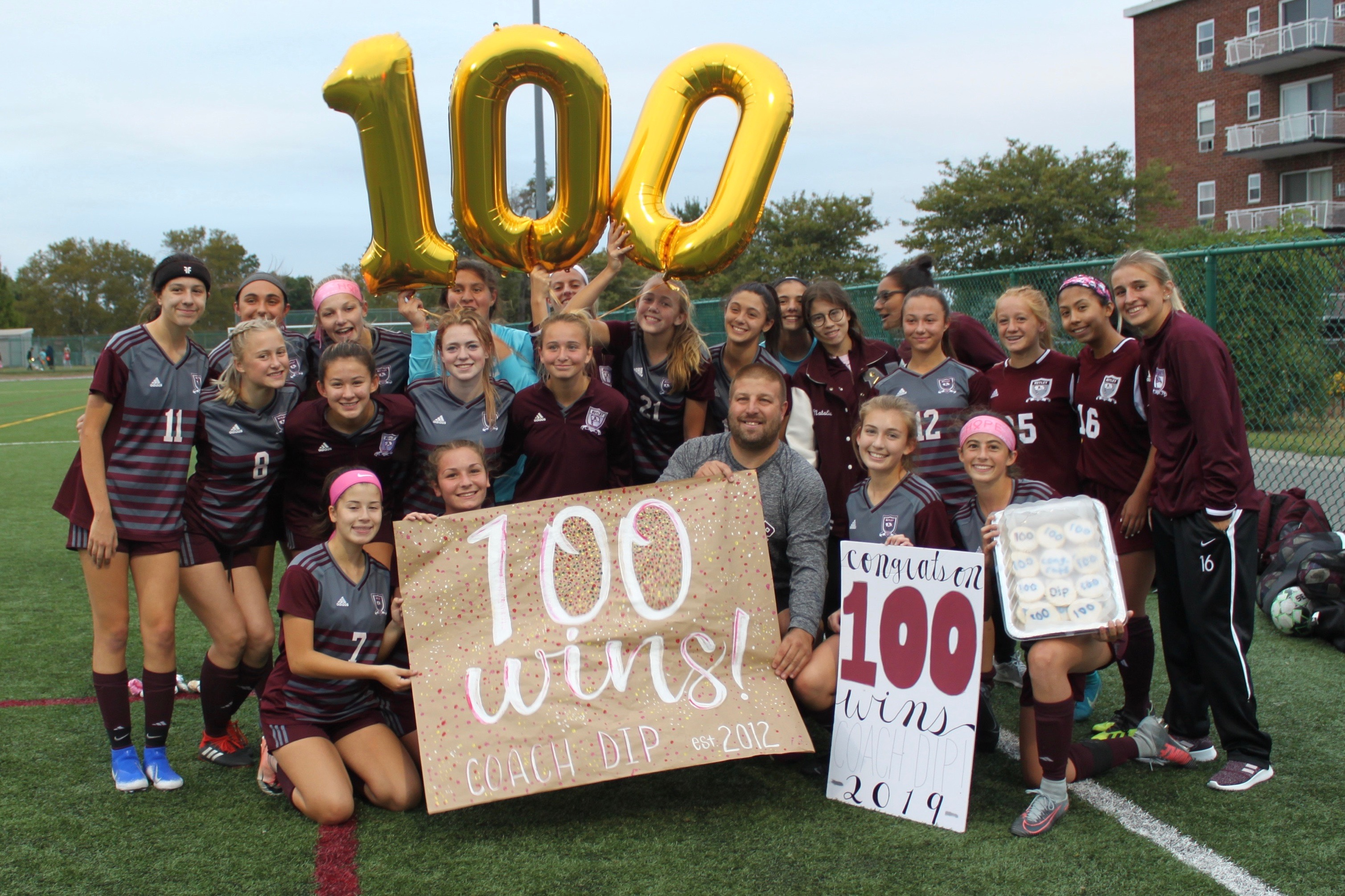 Coach DiPiano with the Nutley Girls Varsity Soccer Team.