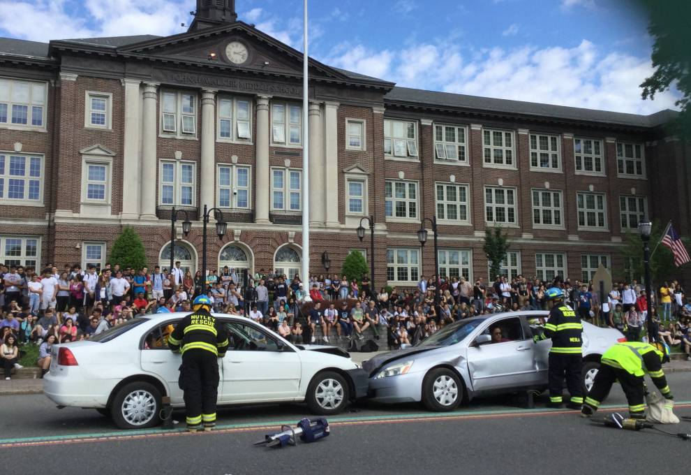 "View of ""crash"" and students"