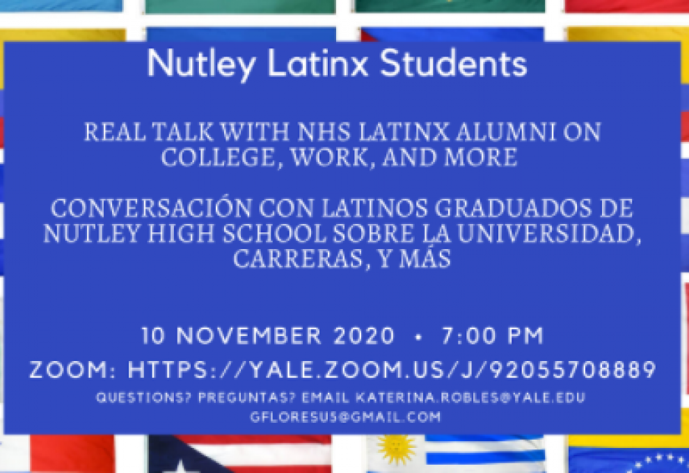 Photo of the title page for Latinx Nutley's first virtual event