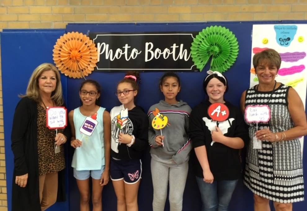 Students at Lincoln School took pictures at the photobooth