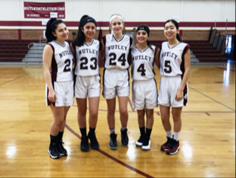 photo: Maroon and Gray (L to R: Ava Sacchetti, Allison Ponton, Sarah Cortese, LoriAnne O'Connor, Kayla Vu)