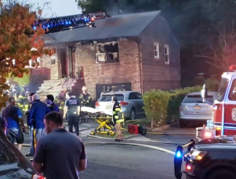 A photo of first responders on the scene of the fire on Myrtle Ave in Nutley.
