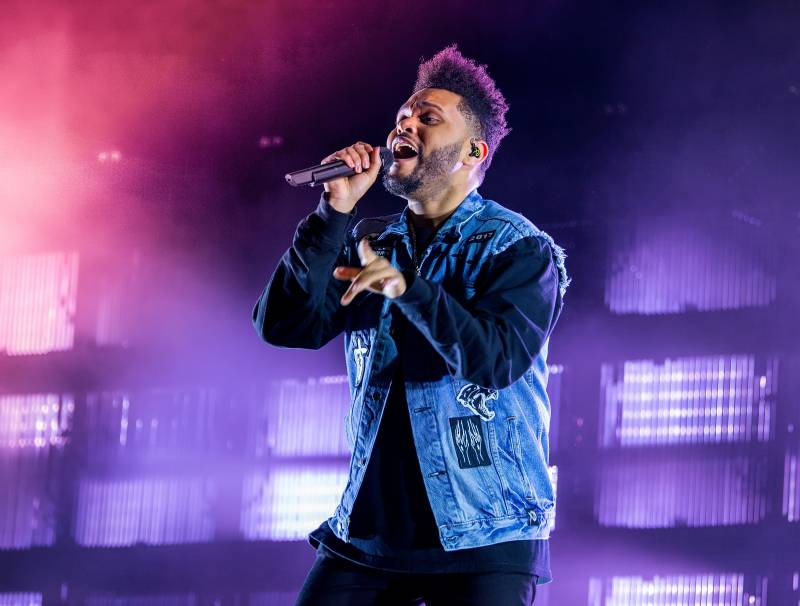 The Weeknd performing at one of his 2017-2018 tour concerts.