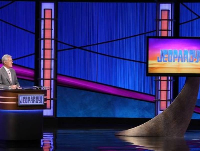 Alex Trebek on the set of Jeopardy!